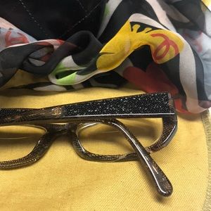 Authentic Chanel glasses w/blk CCs & glitter stems